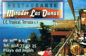 Mirador las Dunas - Internationales Fisch- und Grillrestaurant in Playa del Inglés